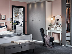 Decorate your bedroom with IKEA PAX wardrobe with new Flornes dark grey floral patterned doors. Set a relaxing tone with pastel pinks, subdued greys and powdered white hues.
