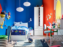 IKEA STUVA white wardrobe and SLÄKT white bed are the perfect basis to express yourself with colourful bedspreads, bright bold wall colours and more to help make your personality pop.