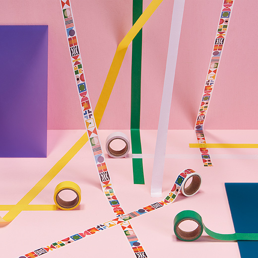 Decorate a project with cheerful, four-pack KNALLGUL rolls of tape from IKEA. Each pack of easy-to-remove washi tape has five metres of a green roll, white roll, yellow roll and multicoloured, geometric pattern.