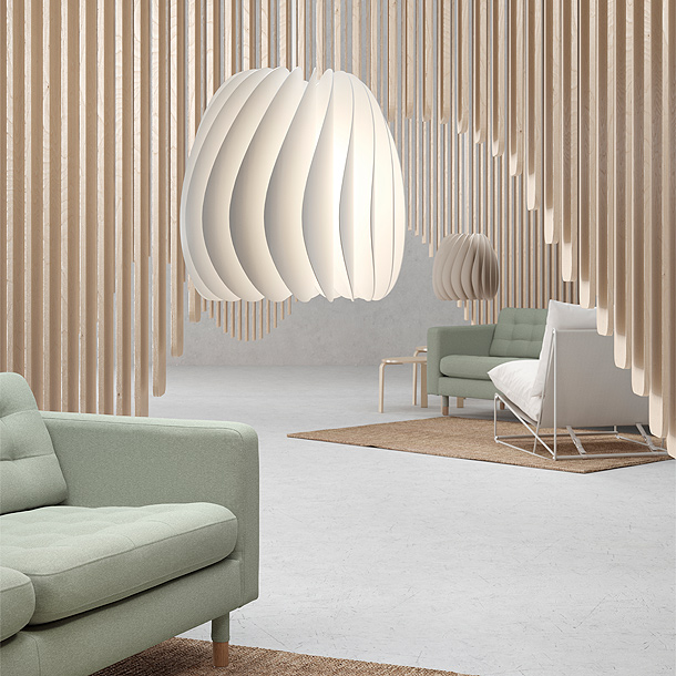 Turn heads with white SKYMNINGEN pendant lamp from IKEA, whether it's on or off. The airy, turbine-shaped lamp hides its light source behind curved blades to emit general and directional light.