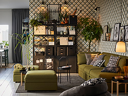 IKEA BROR storage system is a versatile shelving unit that can be placed in the living room, outdoors or the garage. It can hold heavy tools, plants, baskets and boxes.