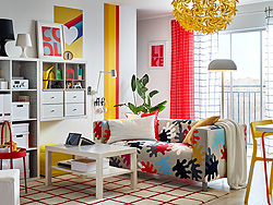 IKEA KLIPPAN, KALLAX and LACK are some of our most loved classics thanks to their functionalities and price. Now available in playfully bold patterns and colours that make them stand out in the living room crowd!