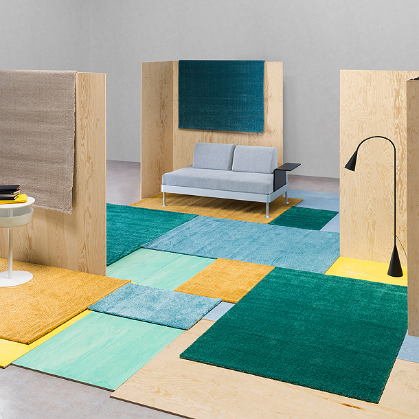 With low pile LANGSTED rugs from IKEA, you can play with possibility. They come in a variety of sizes and colours like turquoise, yellow and green. Their cut edges can be aligned into a seamless patchwork.