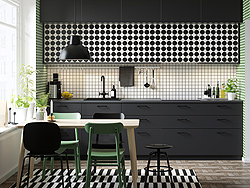 IKEA METOD kitchen can be customised even more with playful YTTERBYN door fronts, which come in playful yet classic patterns like black and white stripes and dots.