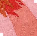 Close-up of a handwoven rug with bird pattern in pink and red, designed by Craig Green for IKEA ART EVENT 2019.