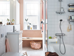 IKEA GODMORGON wash stand is ideal for small space bathrooms، followed with a row of GODMORGON mirrors and glossy white wall cabinets to hold all your bathroom supplies.