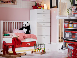 IKEA STUVA baby furniture series safely stores clothes and changing supplies in your nursery. Arrange with ANGELÄGEN colourful storage boxes to easily access what you need.