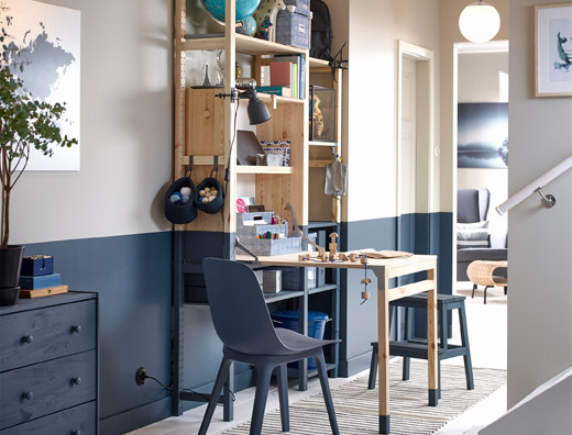 IKEA KULLABERG pine work desk has a thick worktop surface with an industrial feel for any office, dining area, or living room. Use it as a dining table!
