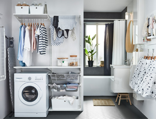 <bdo dir=&quot;ltr&quot;>IKEA ALGOT</bdo> series includes deep mesh shelves، hanging rails for drying laundry، and KUGGIS plastic boxes that can help solve your laundry solution.