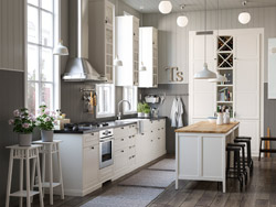 IKEA TORNVIKEN kitchen series provides closed and open white kitchen storage shelves and cabinets in many sizes to fit your culinary needs.