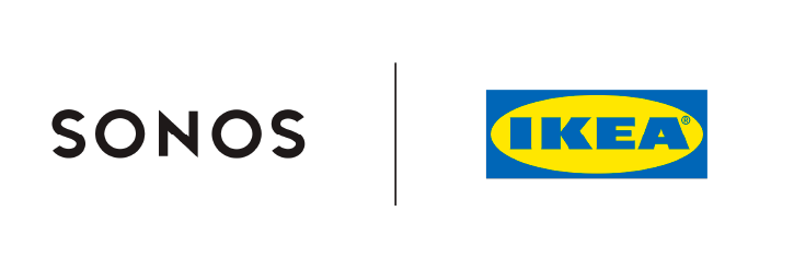 Sonos and IKEA co-branding logo, consisting of a split image of the Sonos logo and IKEA logo.