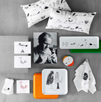 A display of cushions, art cards, trays and paper napkins with patterns of funny birds.