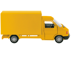 A cut out image of a yellow van.