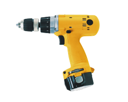 A cut out image of a yellow drill.