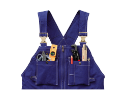 A cut out image of the top part of some blue overalls with pockets filled with tools