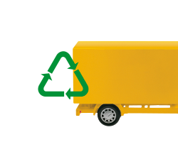 A green recycling symbol in front of a cut out image of the back half of a yellow van.