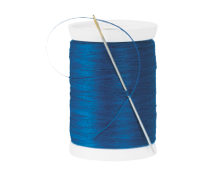 A cut out image of a spindle of blue cotton thread.