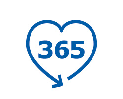 Pictogram of the number 365 enclosed by an arrow in the shape of a heart