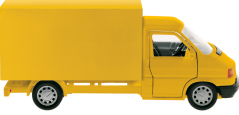 A cut out of a yellow delivery van.