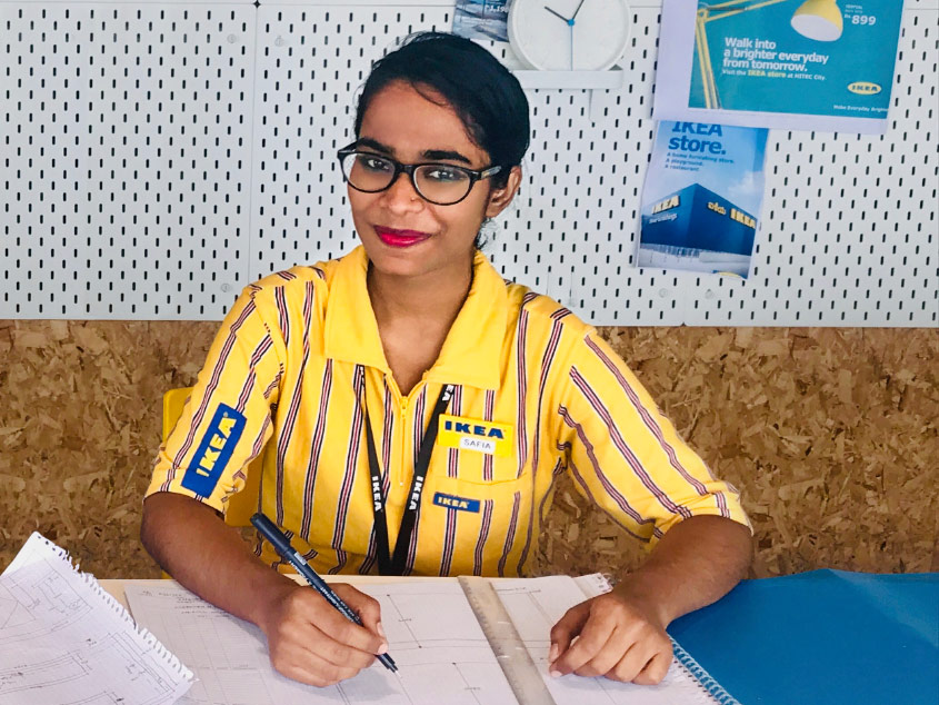 Safia Begum, a co-worker at IKEA India, is happy to have a career that lets her help care for her family.