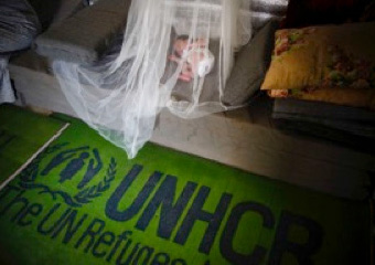 a newborn baby refugee sleeps under a UNHCR mosquito net in the family shelter. A green carpet with UNHCR printed on it.