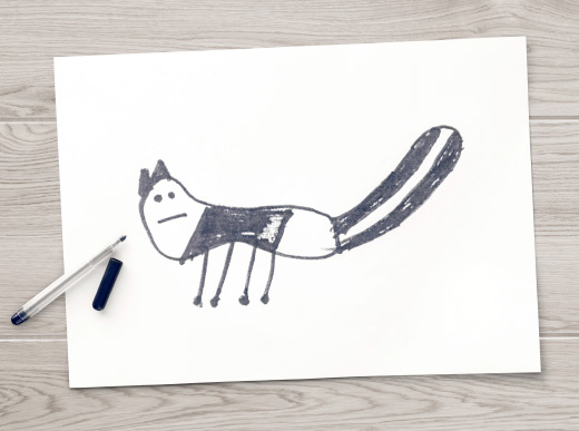 SKUNK soft toy for education campaign drawing.