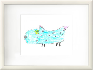A white frame with a child's drawing of a blue dog.