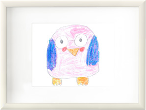 A white frame with a child's drawing of a pink and blue bird.
