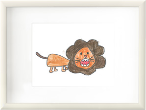 A white frame with a child's drawing of an orange and brown lion.