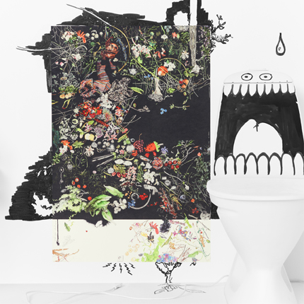 A poster with scattered colorful flowers, green leaves, grass and fruit on a black background. Beside the poster is a toilet with eyes and a big open mouth drawn at the tank.
