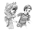 A pencil-drawing of a girl that has long hair, a dress and a mask with black eyes and tusks and a boy with a striped t-shirt, trousers and a face with thick eyebrows, angry eyes and a beak.