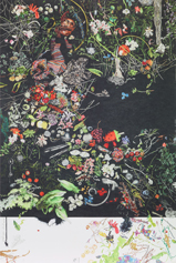 Close-up of a poster with scattered colorful flowers, green leaves, grass and fruit on a black background.