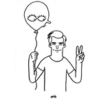 A pencil-drawing of a smiling man in a t-shirt doing the peace sign with his left hand and holding a balloon with eyes, nose and mouth in his right.