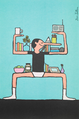 Close-up of a poster featuring a drawing of a man with a long nose standing with his arms and legs in the position of a shelf for books and picture frames.