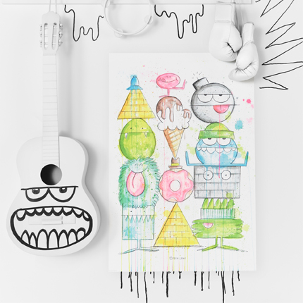 A colourful watercolour drawing with monster characters in different shapes stacked on top of each other.