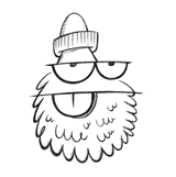 A pencil-drawing of a man with a big beard, glasses and a knitted cap.
