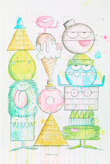 Close-up of a colourful watercolour drawing with monster characters in different shapes stacked on top of each other.