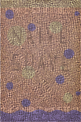 Close-up of a poster with wavy square-pattern in pink, black with purple dots and an imaginary band name, Naive suave.
