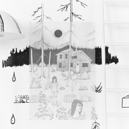 A poster with a stone house in the middle of the forest with a black sun in the sky and two people standing in front of the house.