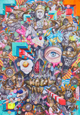 Close-up of a poster featuring a grey skull with unicorns, buddha-figures, pink and turquoise dragons and other fantasy creatures popping out of the skull.