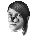 A picture of a woman with a false dog nose.