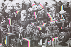 Close-up of a poster featuring a labyrinth with surreal and whimsical creatures, such as a pigs head with human eyes, a body-builder with a rabbits head and dogs with robbers mask.