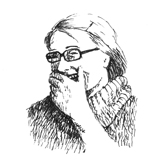 A drawing of a laughing woman, holding her hand in front of her mouth. She is wearing glasses and a big sweater.