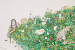 Close-up of a poster featuring a girl sitting by a dining table covered with grass, plants and flowers. There are cups, plates, coffee pots and a big bear hiding in the grass.