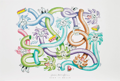 Close-up of a poster with entwined wormlike creatures with palm tree heads in pastel colors.