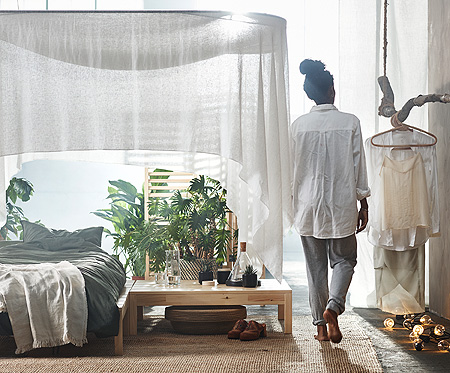 Bedding, seating and decoration from the IKEA HJÄRTELIG collection will help you create a personal retreat.