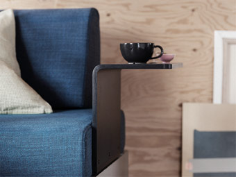 Say hello to the new DELAKTIG sofa series! Add accessories like the IKEA side table for frame to hold books or coffee. This open source platform is perfect for small space living, and any person or company can add to it or completely change it.