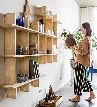Hang two shelving units from the INDUSTRIELL collection next to each other and get more room to showcase your things.