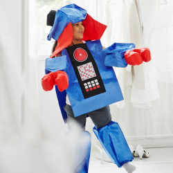 A boy dressed in a robot costume.