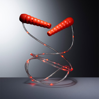 Just jumping up and down can provide hours of fun—especially with the IKEA LUSTIGT skipping rope. The LED lamps lights up while in motion, making it possible to skip in the dark (even more fun).